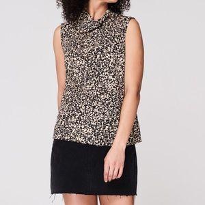 DKNY Leopard Print Sleeveless Chiffon Top